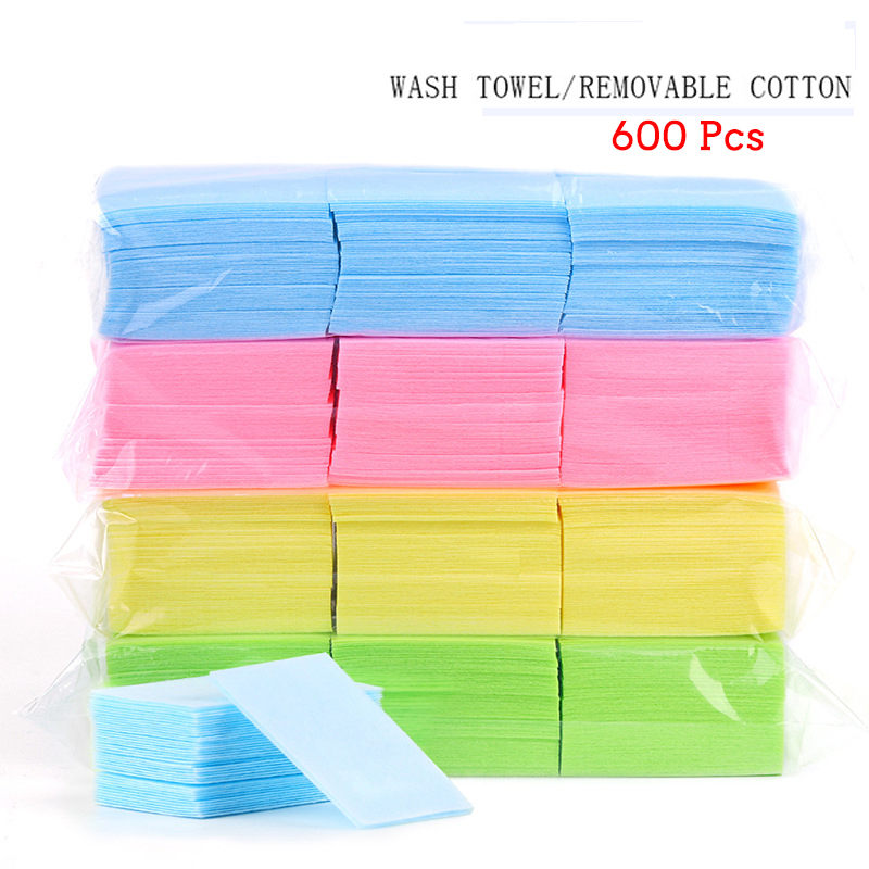 600 Pcs/Bag Nail Polish Remover Wipes Cleaning Lint Free Paper Pad Soak Off Remover Manicure Tool