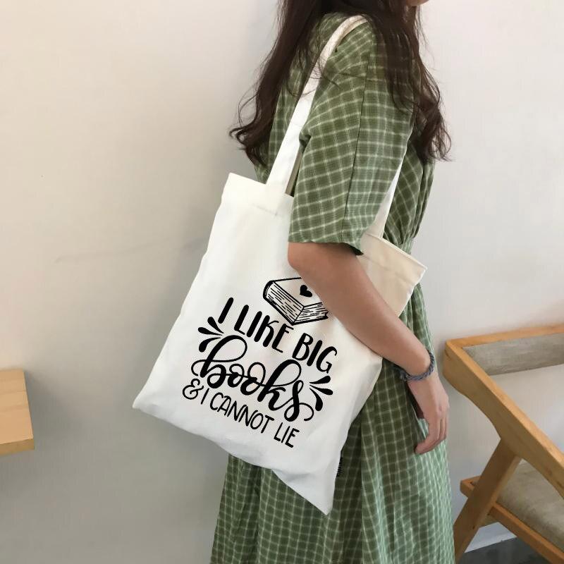 Canvas Tote Bag I Like Big Books And I Cannot Lie Slogan Funny Women Fashion Canvas Bag Shopping Bags Travel Bag