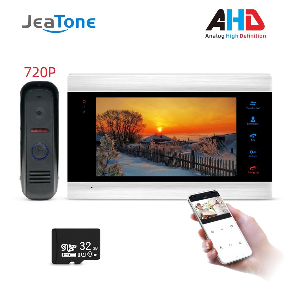 720P/AHD 7'' WiFi Smart Video Door Phone Intercom System With AHD Doorbell Camera Free App Remote Unlock Access Control System