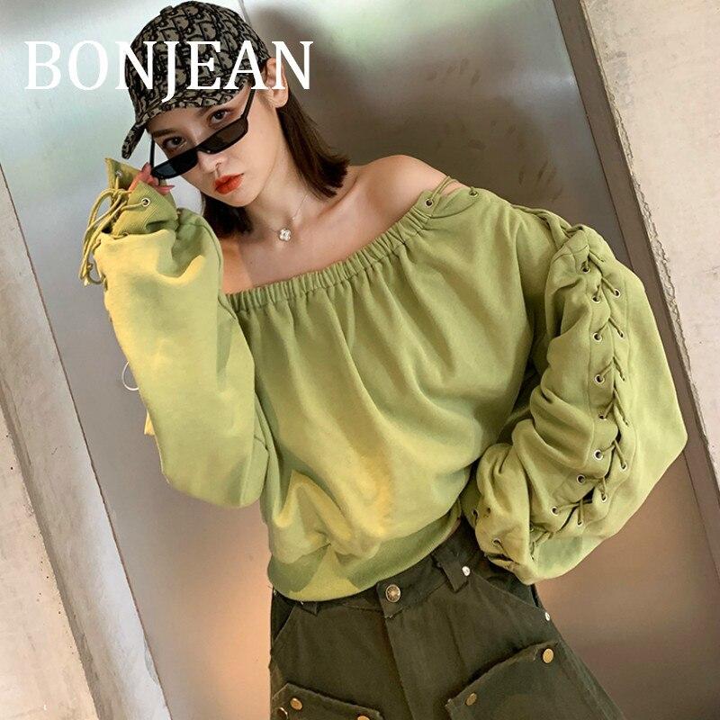 BONJEAN Slash cou chemise pour femmes 2019 haut d'automne et t-shirts lanterne manches vert t-shirt évider chemises décontractées BJ1615