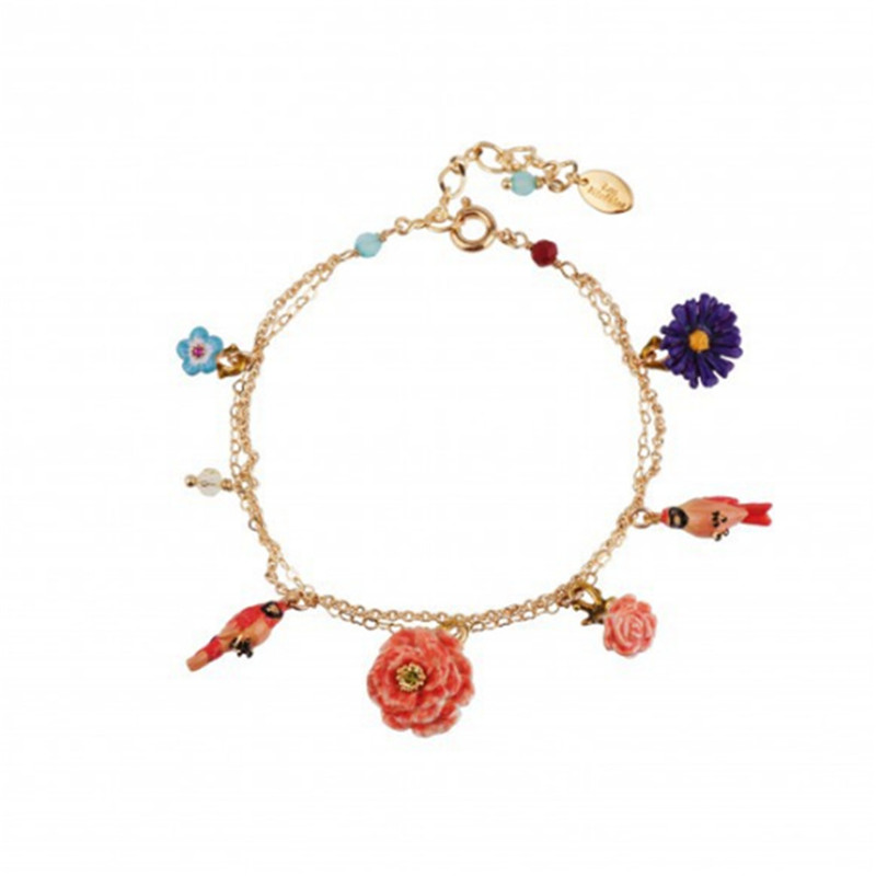 French creative new product wild parrot peony flower multi-drop bracelet bracelet Europe, Japan and Korea jewelry