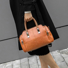 Casual Tote Bag Leather Luxury Handbag Women Bag Designer Purse High Quality Ladies Crossbody Bag Boston Bag Female Top-hand Bag rockcow full grain leather ladies women genuine leather handbag shoulder bag high quality designer luxury boston crossbody bag