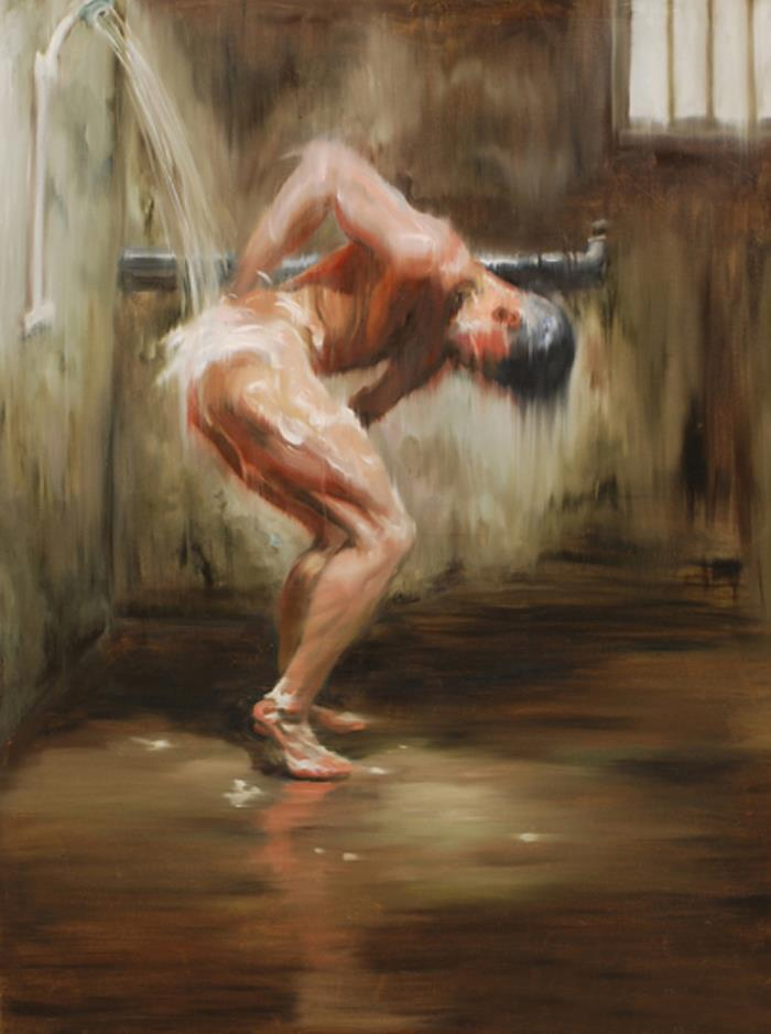 "100% hand painted Original Oil Painting art gay male nude Bathing on canvas 24""X36"""
