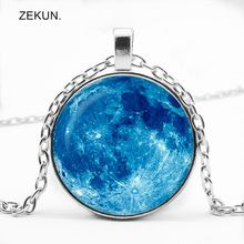 LIAOZEKUN,2019/ New Blue Sky Blue Starry Glass Pendant Necklace Men and Women with The Same Jewelry finding the blue sky