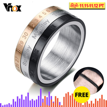 Vnox Roman Numerals Ring Men Jewelry Stainless Steel Cool Punk Spinner Mens Ring with Date Time