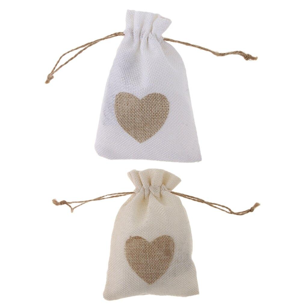 Джутовый мешочек на шнурке, подарочные пакеты, свадебные сувениры, 10 шт.