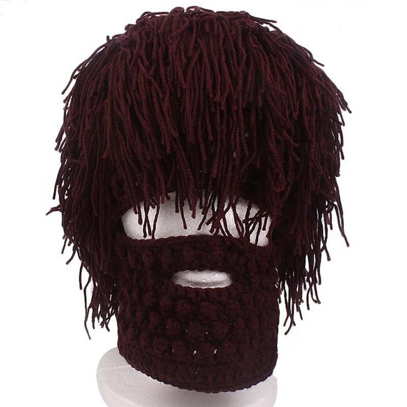 Вязаная мужская зимняя вязаная шляпа с усами ручной работы, шапочки для бороды, велосипедная маска с кисточками для лица, лыжная теплая шапк...