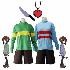 Аниме игра Undertale Frisk Chara костюм для костюмированной вечеринки свитшоты с длинным рукавом и высоким воротником подвеска с ножом