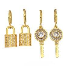 CZ Zircon Key Padlock Earrings For Women Jewelry Gift 2020 New Design Plated Gold Earring Zirconia 24K Gold Small Bar Earrings full body skeleton earrings 24k pure gold skull skeleton men and women gold earrings earrings