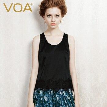 VOA All-Match Solid Silk Halter Top Stitching Lace Collar Silk Sexy Slim Vest Female B1013