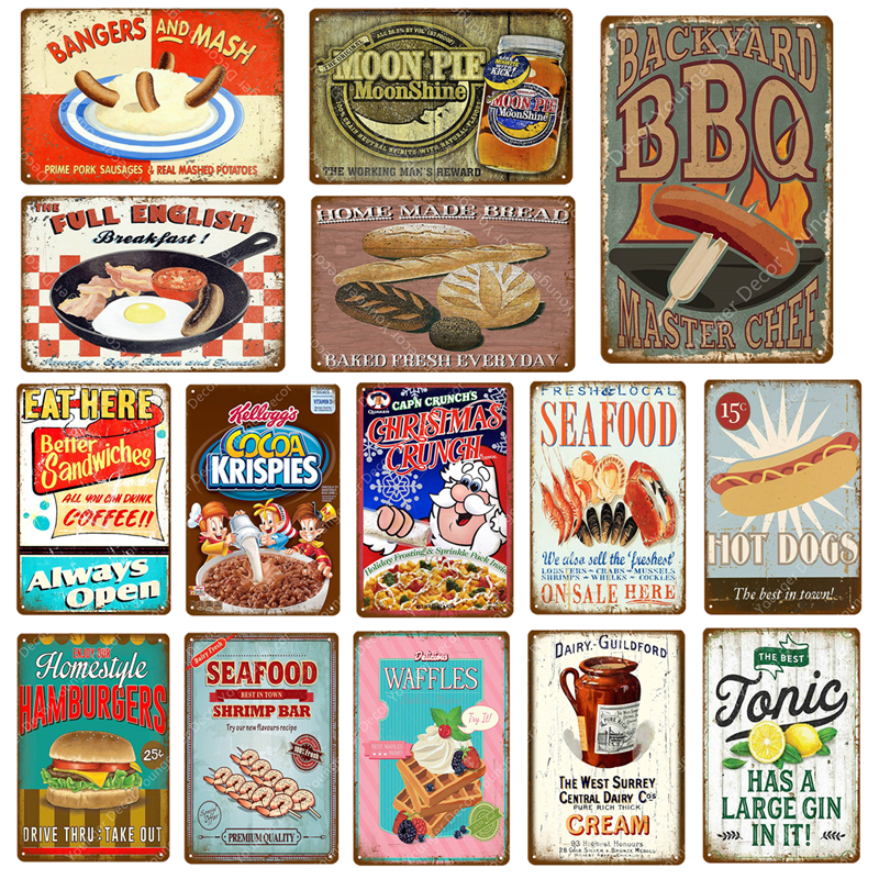 Постер для еды, барбекю, луной, пирог, морепродукты для хот-догов, крем, гамбургеры, хлеб, табличка, бар, паб, магазин, домашний Настенный декор...