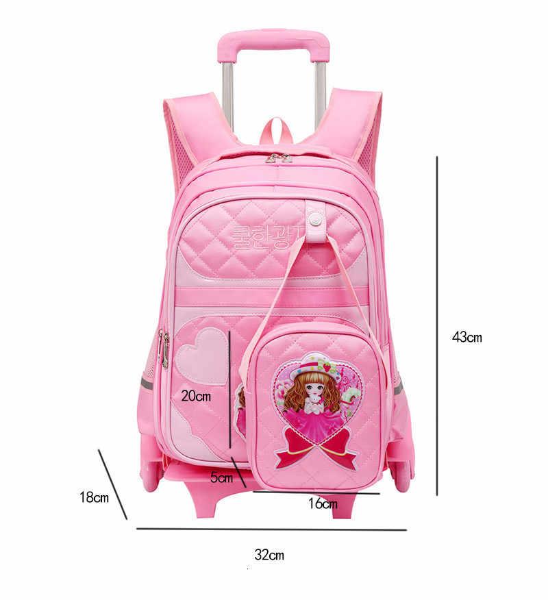 Removível para Crianças Mochilas Escolares com 2/6 Rodas 2 pçs/set Meninas Mochila Crianças Rodas Saco Do Trole rosa Livro saco saco de viagem bagagem