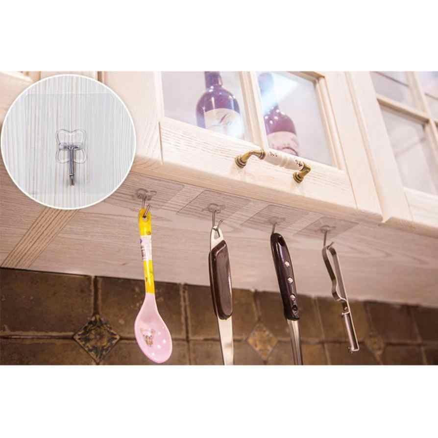 10 pièces crochet fort Transparent ventouse cintre étanche adhésif lourd charge support acier inoxydable crochet cintre pour cuisine
