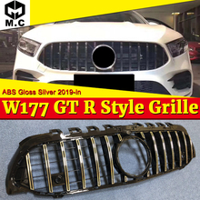 For MercedesMB A Class W177 GT R grille Grill With Camera A180 A200 A250 A45 Without Sign ABS Silver Looks Front Grille 2019-in