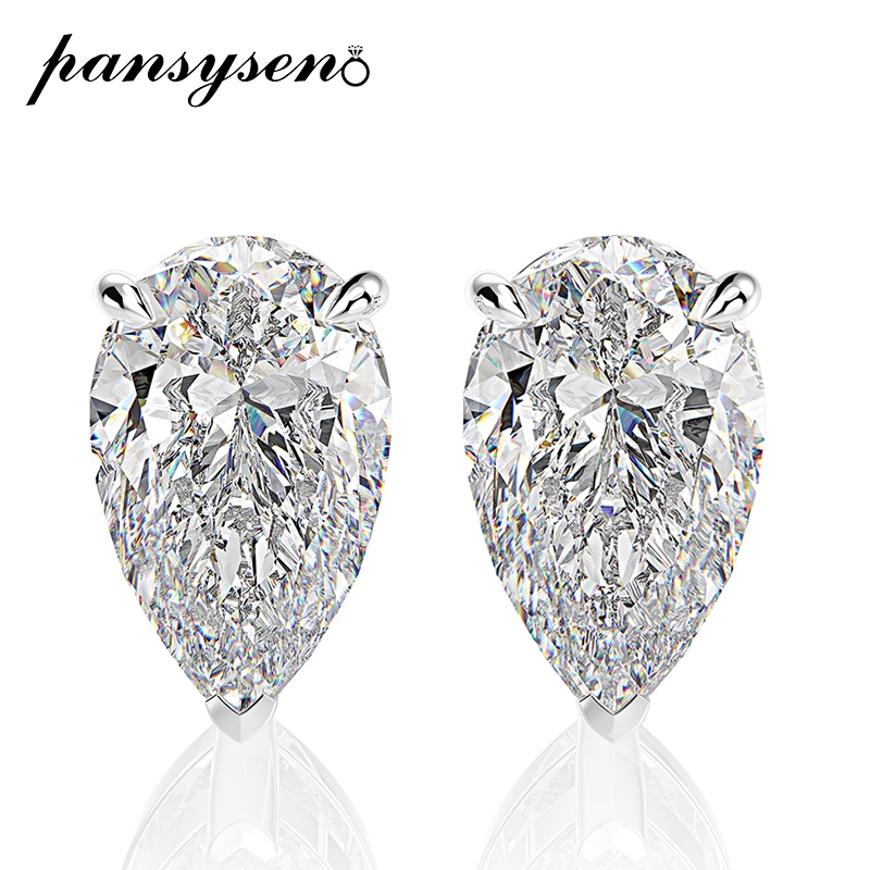 PANSYSEN Sparking 5x8MM Created Moissanite Solid 925 Silver Studs Earrings For Women Classic Wedding Engagement Jewelry Earring