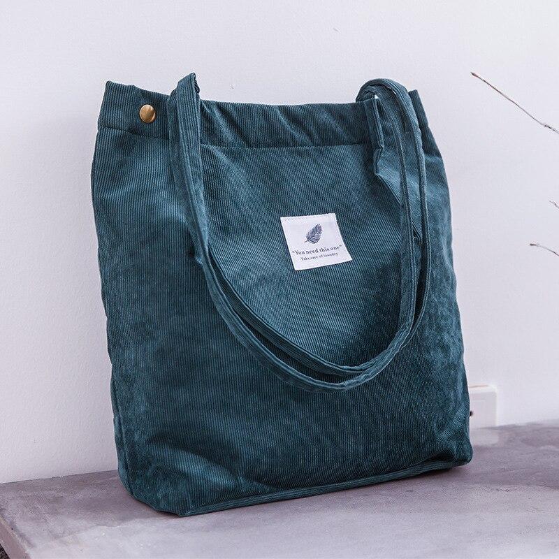 Women Corduroy Shopping Bag Female Canvas Cloth Shoulder Bag Environmental Storage Handbag Reusable Foldable Eco Grocery Totes 3