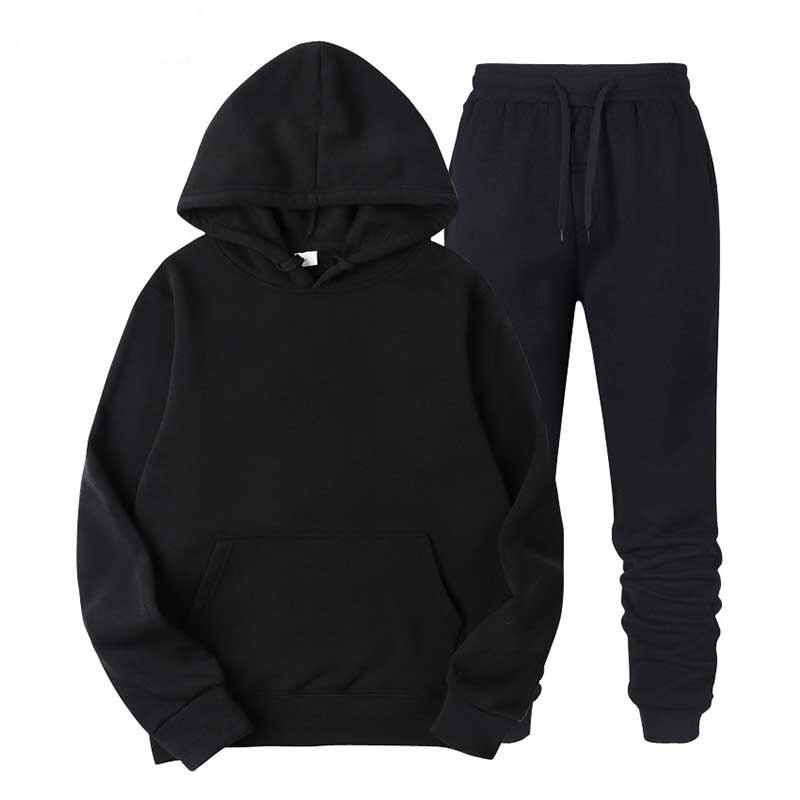 Tracksuit Men Suits Hoodies And Pants Two Pieces Set Sweatshirts Male Sweatpants Solid Casual Sportwear 2020 Plus Size S-4XL