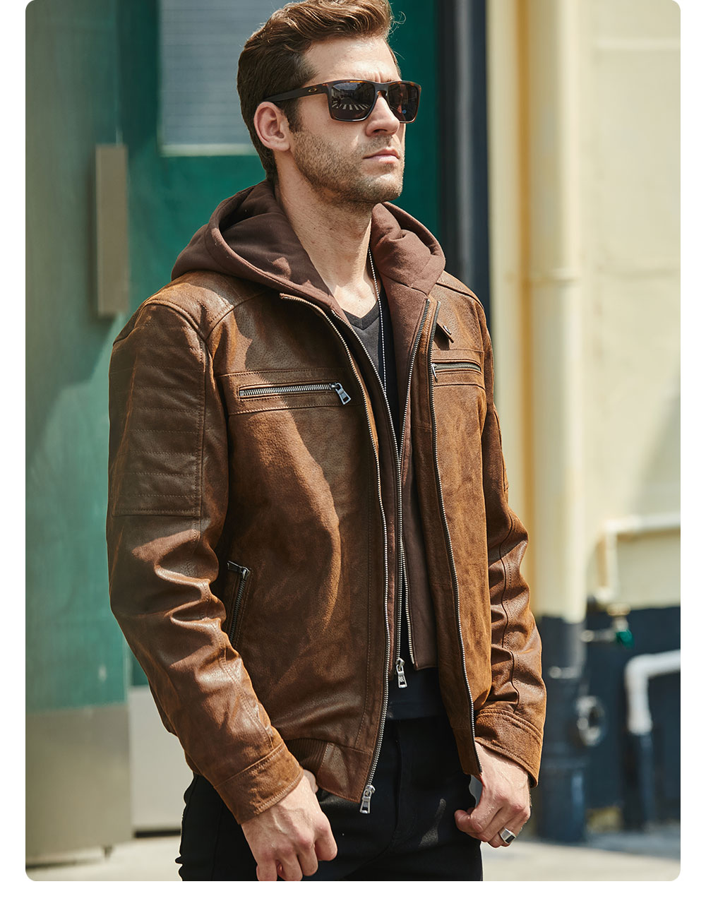 He28ee22bce1a48bbb781dd240135159fN New Men's Leather Jacket, Brown Jacket Made Of Genuine Leather With A Removable Hood, Warm Leather Jacket For Men For The Winter
