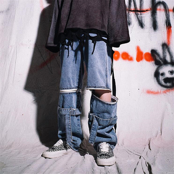 The zip trousers are detachable, hip-hop jeans for men and women trendy hip-hop wide-leg loose trousers printio hip hop