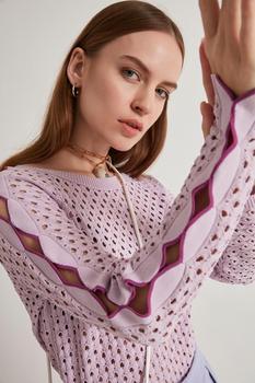 цена на Joinus Cellular Sleeve Detail Women Knitwear Summer Sweater