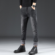 Winter Plus Velvet Jeans Men Slim Fashion Washed Skinny Jeans Men Streetwear Hip Hop Black Denim Pants Man Jean Trousers Clothes