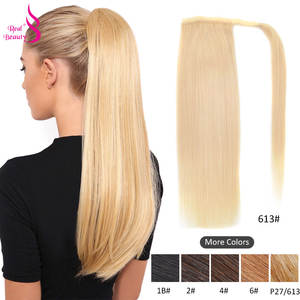Ponytail-Wrap Human-Hair Brazilian Real Around Beauty Remy 60/100/120g-hairpieces 100%Straight