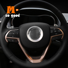 цена на ABS Chrome Car Middle Steering Wheel Button Frame Cover Trim Car Styling Accessories 2014 15 16 2017 for Jeep Grand Cherokee