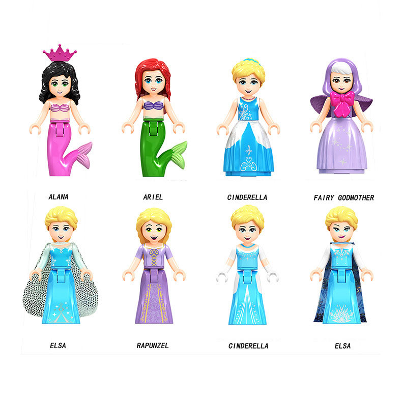 Frozen Anna Elsa Ariel Cinderella Princess Building Blocks Toys For Children Friends Figure Toy