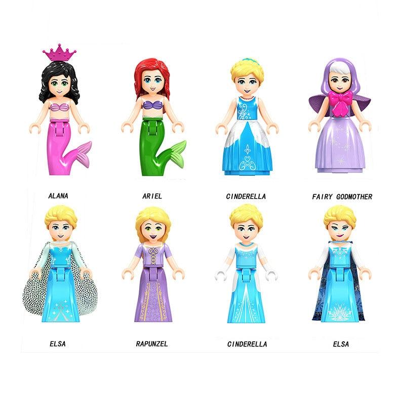 Frozen Anna Elsa Ariel Cinderella Princess Building Blocks Toys For Children Friends Figure Toy