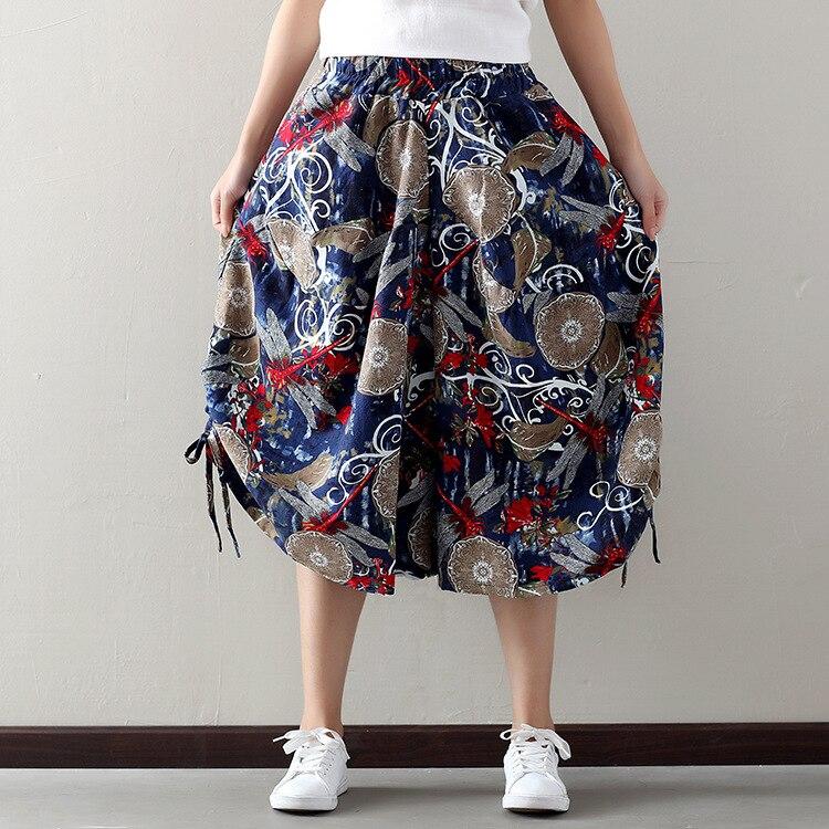 Large Size Loose Pants New Products National Wind WOMEN'S Pants Cotton Pants Elastic Waist Capri Pants Women's