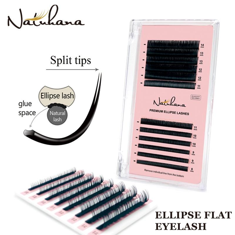 NATUHANA 8~14 Mix Individual Flat Ellipse Eyelash Extension False Fake Eye Lash Natural Matte Split-tips Ellipse Shape Eyelashes