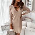 2021 Spring Autumn Winter Women Knitted Dress Party V-Neck Sweater Dresses Lady Sexy Long Sleeve Bottoming Dress Fashion Vestido