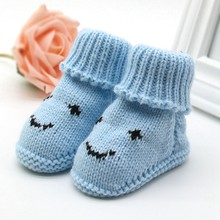 Autumn Winter Baby Snow Boots Knitted Wool Thicken Warm Infant Baby Shoes Footwear(China)