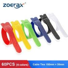 Zoerax 60 pçs cabo reutilizável laços alça de náilon cabo ajustável gancho e laço laços para organizador envolve acessórios de cabo