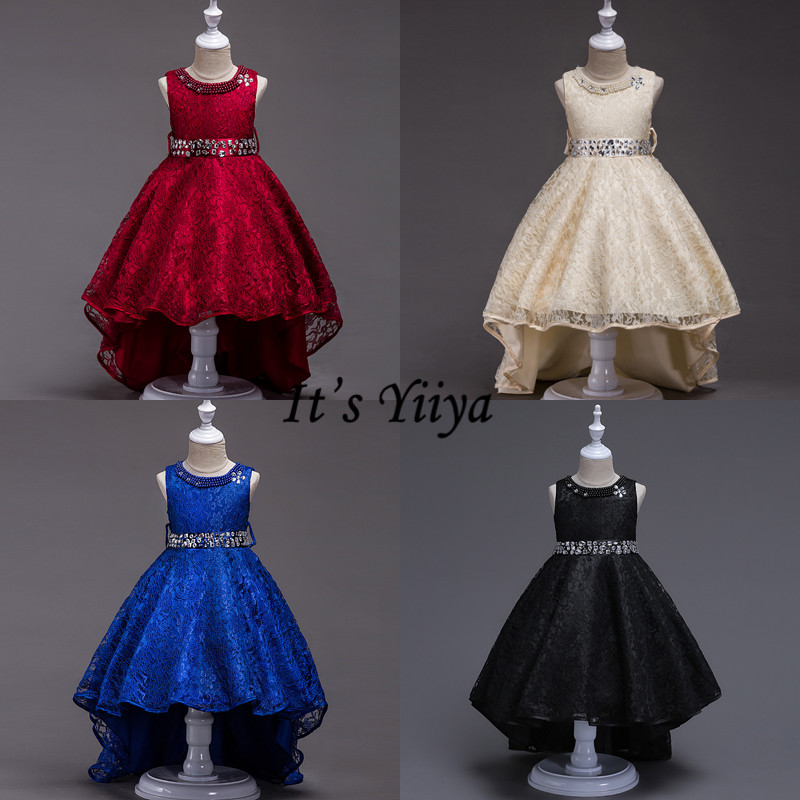 It's YiiYa Flower Girl Dress Crystal Lace Dresses For Girls Burgundy Blue Black High Low Length Kid Party Gowns L093-3