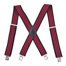 Новинка, Лидер продаж, подтяжки в красную полоску, широкие, 5 см., подтяжки для мужчин, 4 зажима, X Back, эластичные, деловые, мужские подтяжки для