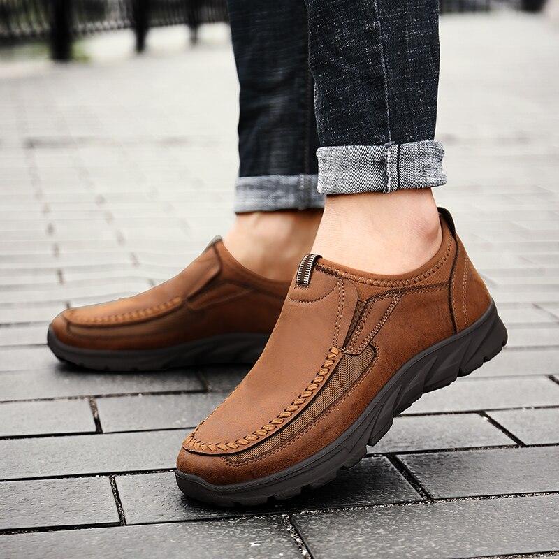 New Arrival Leather Shoes Men Plus Size 39-48 Men Shoes Leather Fashion Mens Shoes Casual Slip On Comfort Footwear