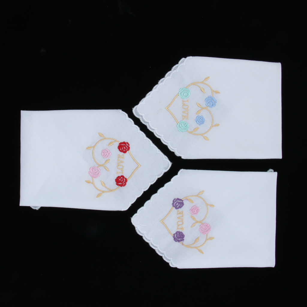 3 Pieces Womens Beautiful Cotton Floral Handkerchief Wedding Party Fabric Hanky
