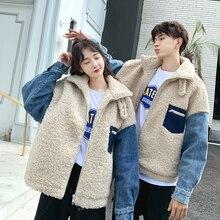 Winter Jacket Men Warm Fashion Denim Stitching Parka Thick Coat Man Streetwear Wild Loose Cotton Plush Clothes S-3XL