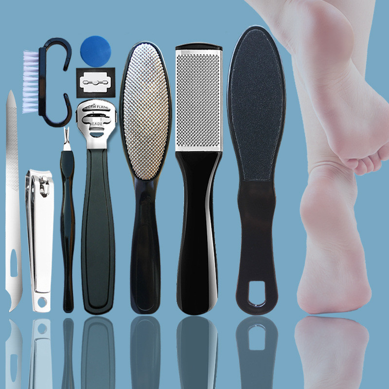 10 in 1 Professional Foot Care Kit Pedicure Tools Set Stainless Steel Foot Rasp Foot Dead Skin Remover Clean Toenail Care Kit 1