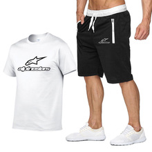 Alpinestars T-shirt and Shorts Suit for men summer 2PC Sportswear + shorts Suit for Men Beach Casual T-shirt and suit for men sp
