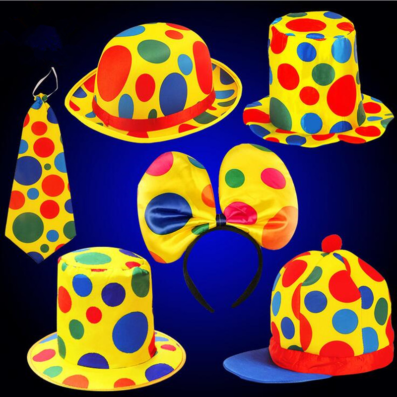 Men Women Funny Clown Hat Stage Show Costume Halloween Carnival Caps Top Hat Gift Children Birthday Party Costume Cosplay Props