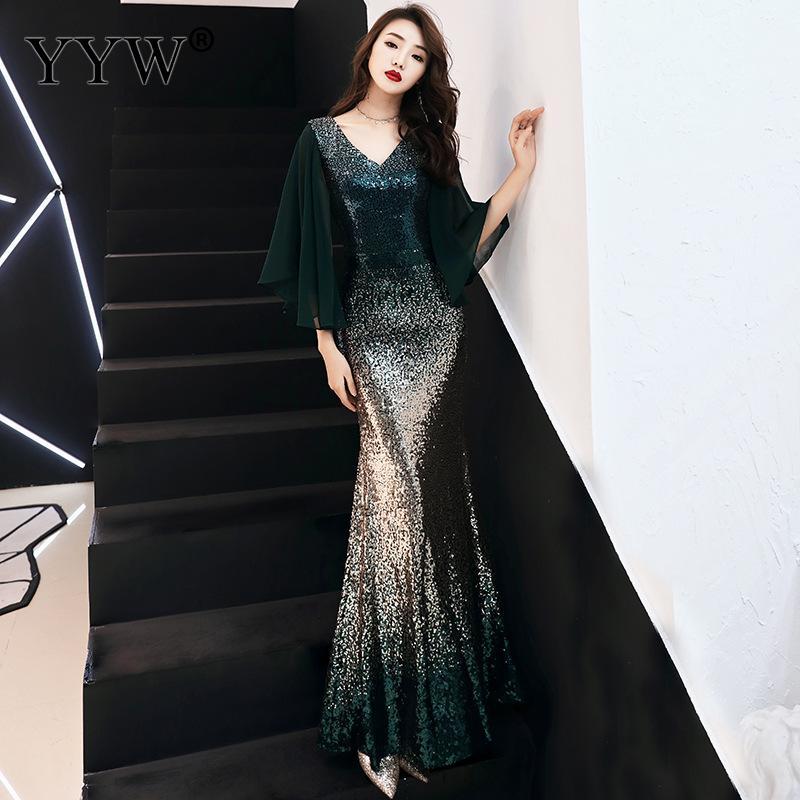 Cape manches robe de soirée femmes élégant longue robe à paillettes Cape Vintage robes de sirène femmes dégradé robe de bal Vestidos