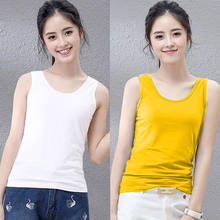 Elegant Summer Top Women Sex U Neck Cotton Tanks Slim Fit White Tops Sleeveless Female Shirt Oversized Singlet Streetwear(China)