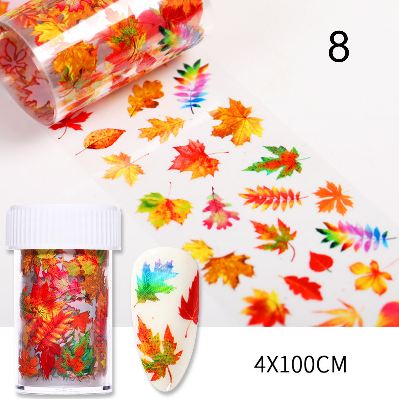 1 Roll Nail Foils Maple Leaves Lavender Colorful Flowers Autumn Transfer Stickers Paper Mix Pattern DIY Nail Art Decorations