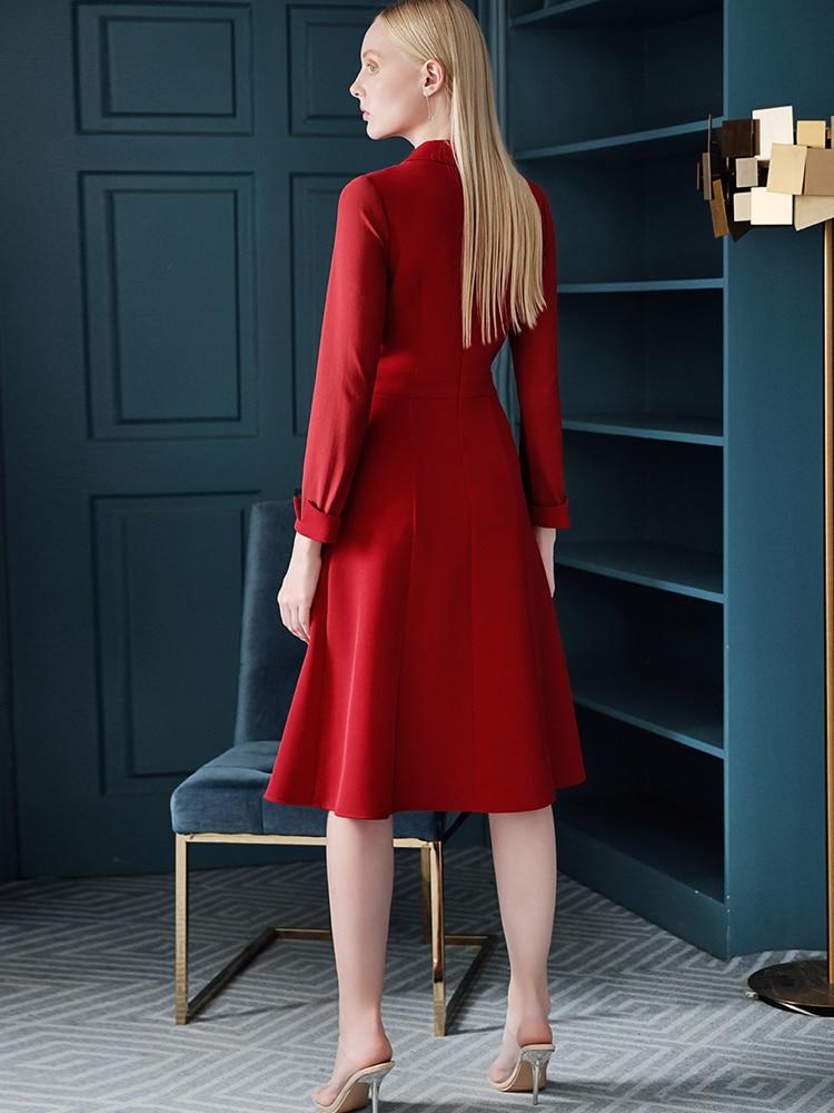 2020 New Fashion Autumn Spring Dress Suit Blazer Coat Jacket OL Red Long Sleeve Elegant Office Lady High Quality Work Wear Dress