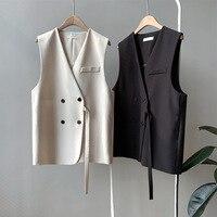 Sleeveless Suit Women Vest Short Paragraph 2019 Autumn New Fashion Loose V neck Solid Color Temperament Wild Vest Jacket Women