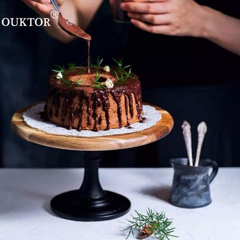 Stojak piętrowy na ciasto drewniany talerz metalowy wysoki bazowy ciastko danie drewno deser ciasto dostarcza taca ślubna dekoracja wyświetlacz akcesoria do ciast tanie i dobre opinie CN (pochodzenie) ROUND Drewna Wood Cake Dessert Stand For Cake Display Dessert Cake Board Dessert Board Cake Tools
