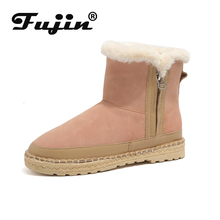 Fujin Booties Female 2019 Autumn and Winter New England Wind Chelsea Boots Women  Thick Bottomed Color Flat Snow Warm
