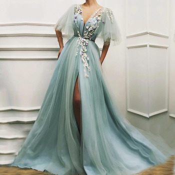 Sexy Evening Dresses Long V-Neck Appliques Flowers Front Split Tulle Short Sleeves Green Prom for Party Graduation 202 - discount item  38% OFF Special Occasion Dresses